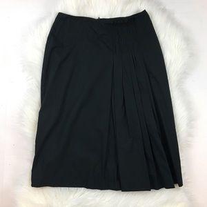 Dries Van Noten Black Pleated Waist Midi Skirt